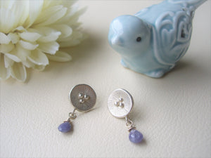 Poppy motif silver earrings, Handcrafted, Tanzanite jewelry.