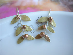 Gold Leaf Mistletoe Earrings, Woodland Jewelry.