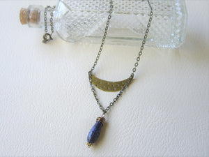Lapis Lazuli Crescent Moon Necklace, Mixed Metal Rustic Jewelry, Boho-chic Gift.