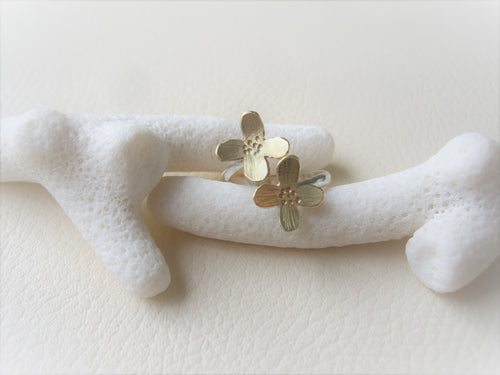 Flower Wrap Ring, Gold and Silver.