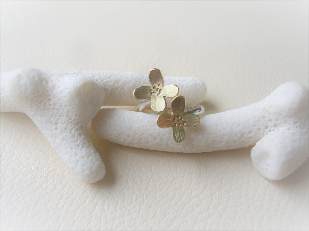 Flower Wrap Ring, Gold and Silver Ring, Silversmith artisan jewelry