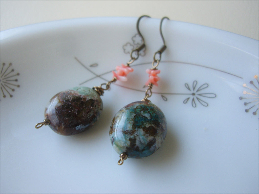 Antique Bronze Chrysocolla Earrings, Boho-Chic Oval Stone Earrings