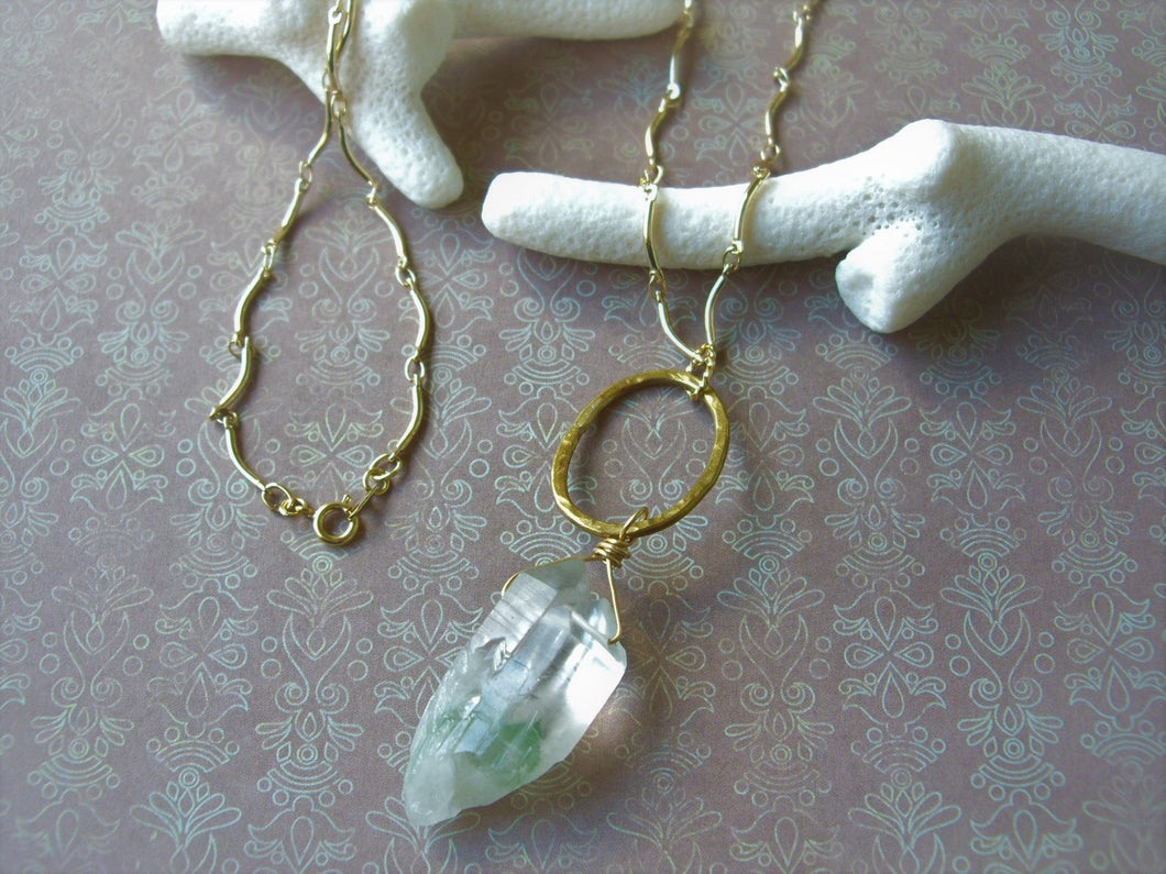 Green Quartz Gold Long Necklace, Crystal Point Pendant.