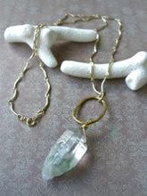 Load image into Gallery viewer, Green Quartz Gold Long Necklace, Crystal Point Pendant.
