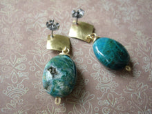Load image into Gallery viewer, Green Statement Earrings, Natural Chrysocolla, Geometric Earrings