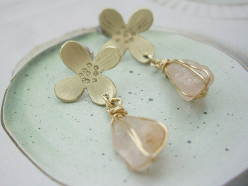 Gold Flower Earrings With Raw Rose Quartz