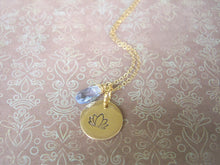 Load image into Gallery viewer, Lotus Flower Hand Stamped Necklace, Disk Pendant, Choose Your Stone