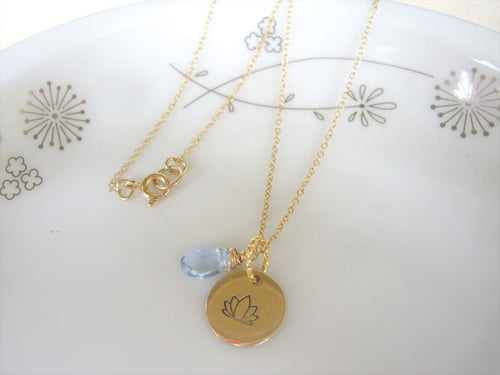 Lotus Flower Hand Stamped Necklace, Disk Pendant, Choose Your Stone