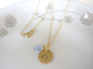 Lotus Flower Hand Stamped Necklace, Disk Pendant, Choose Your Stone.