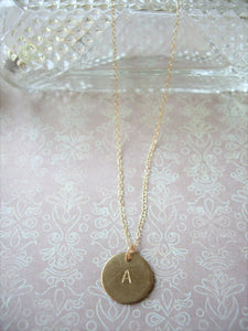 Personalized Initial Necklace, Hand Stamped Disc Pendant, Made To Order.