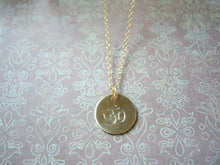 Load image into Gallery viewer, Personalized Initial Necklace, Hand Stamped Disc Pendant, Made To Order