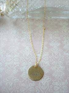 Personalized Initial Necklace, Hand Stamped Disc Pendant, Made To Order