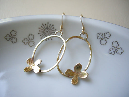Gold Oval Loop Earrings with Flower, Modern Minimalist Jewelry