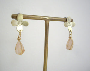 Gold Flower Earrings With Raw Rose Quartz, Organic Jewelry, Rough Stone Earrings