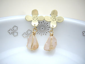 Gold Flower Earrings With Raw Rose Quartz.