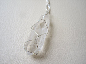 Wire Wrapped Crystal Point Long Necklace