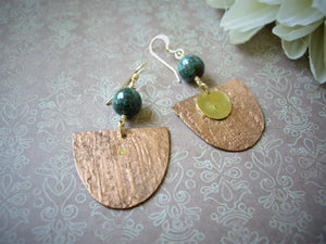 Mixed Metal Modern Retro Earrings, Handcrafted Rivet Earrings.