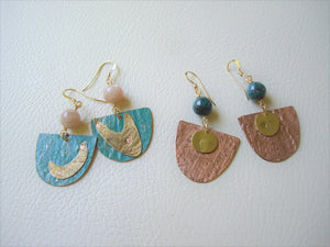 Mixed Metal Riveted earrings, Caribbean Blue, Colored Metal Jewelry.