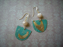 Load image into Gallery viewer, Mixed Metal Riveted earrings, Caribbean Blue, Colored Metal Jewelry.