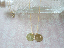 Load image into Gallery viewer, Personalized Initial Necklace, Hand Stamped Disc Pendant, Made To Order.
