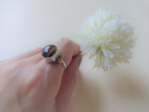 Tiger's Eye Solitaire Ring, Bezel Setting Statement Ring.