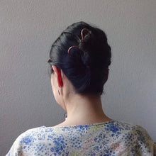 Load image into Gallery viewer, Silver Long Handforged Hair Stick, Zigzag Hair Pins For Long Hair.