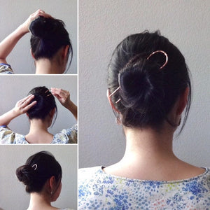 Silver Long Handforged Hair Stick, Zigzag Hair Pins For Long Hair.