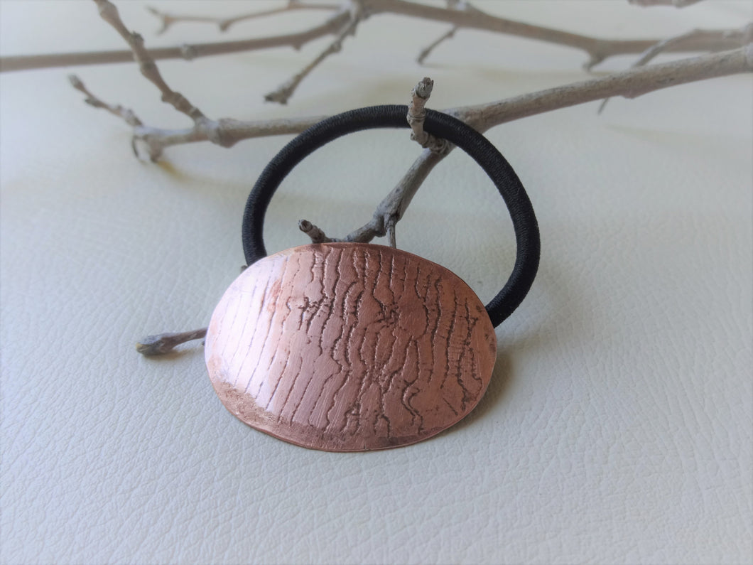 Copper Ponytail Holder, Handmade Metal Hair Tie