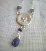 Load image into Gallery viewer, Poppy Tanzanite Necklace, December Birthstone Gift, Circle Sterling Silver Pendant