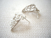 Load image into Gallery viewer, Silver heart earrings, Filigree heart jewelry, Statement post earrings, Anniversary gift