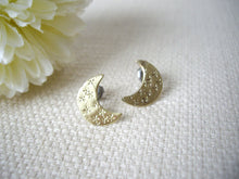 Load image into Gallery viewer, Hand stamped Crescent Moon earrings.
