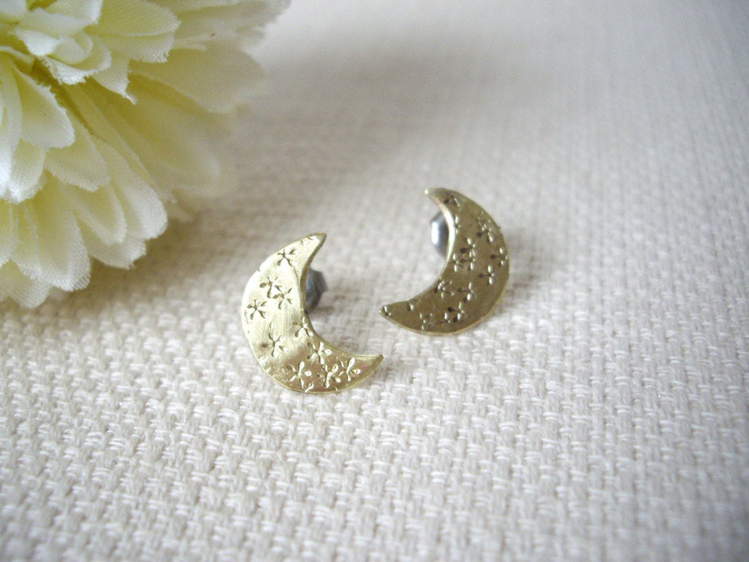 Hand stamped Crescent Moon earrings.