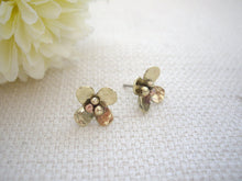 Load image into Gallery viewer, Brass Gold Small Flower Studs, Mixed Metal Handcrafted Jewelry