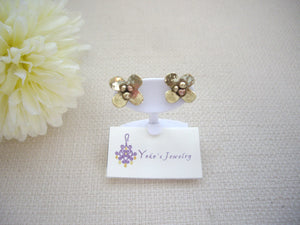 Brass Gold Small Flower Studs, Mixed Metal Handcrafted Jewelry