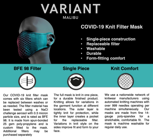 3D-Knit Mask with Replaceable Filter