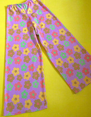 Pink/ lilac flower power wide leg pants