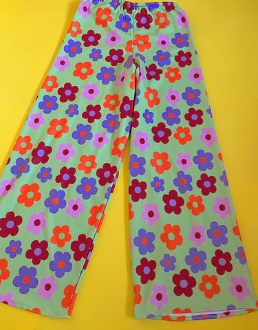 Green flower power wide leg pants