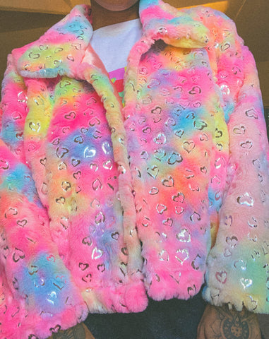 Tie dye heart print jacket (choose your length)