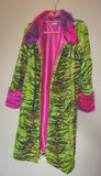 Lime tiger velboa midi jacket