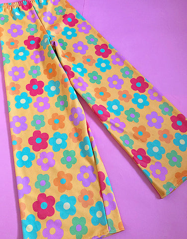 Yellow flower power wide leg pants