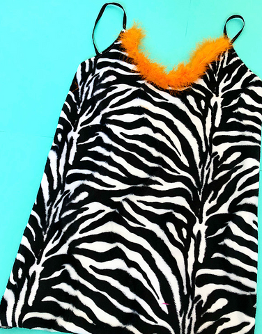 Zebra sass qween mini dress ( choose fluffy trim colour )