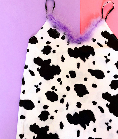 Cow sass qween mini dress ( choose fluffy trim colour)