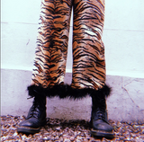 Tiger print fluffy trim culottes