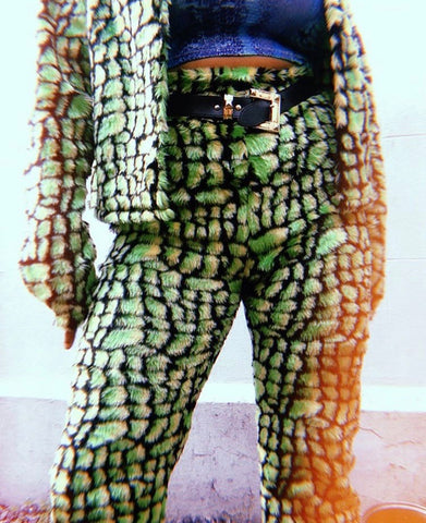 Croc furry straight leg pants