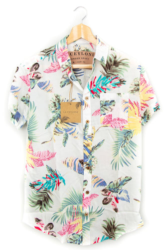 Tropical Palms white hawaiian shirt