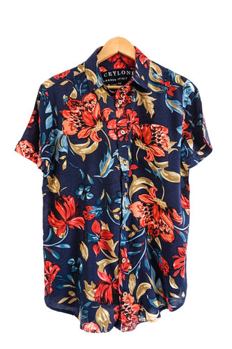tropical blue hawaiian shirt