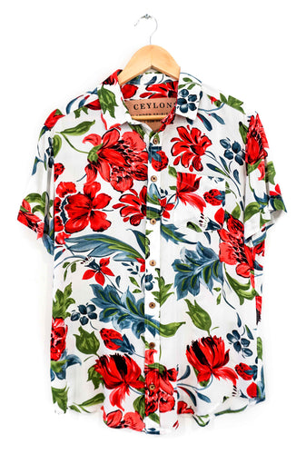 Tropical High Blue white hawaiian shirt