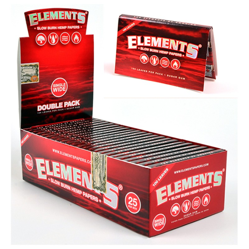 Elements Slow Burn Hemp Single Wide RED Double Pack