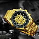 Automatic Mechanical Golden luxury Skull Watch