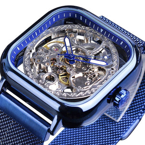 Automatic Mechanical Square Skeleton Wrist Watch for men